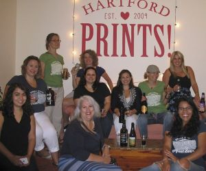 Members of Connecticut Girls Pint Out pose at Hartford Prints! in Hartford after a night of conversing and drinking beer. Will Siss / Republican-American