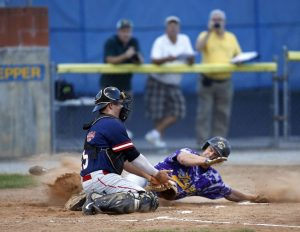 Torrington, CT- 20 August 2015-082015CM09- Tri-Town's James Cramphin beats out the tag at home, as Litchfield catcher Steve Harrison attempts the out during the finals of the Tri-State League championship at Fussenich Park in Torrington on Thursday. Christopher Massa Republican-American