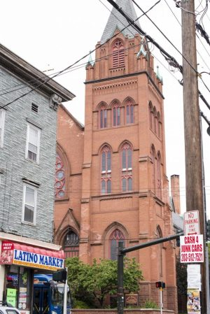 St. Francis Xavier Church at 625 Baldwin Street is set among a commercial area in the 5th Aldermanic District in Waterbury. Erin Covey Republican-American