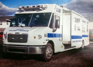 Watertown, Naugatuck, Middlebury and Wolcott plan to share a van similar to this one for DUI checkpoints and accident reconstruction. Watertown Police Department