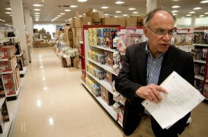 Jim Boscov, chief executive officer of family-owned department store Boscov's, walks through the company's new store at Westfield Meriden recently. Alec Johnson/ Republican-American