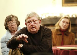 Christopher Massa Republican-American Wayne McCormick makes remarks during a meeting at Colonial Tavern in Oxford on Thursday. Area residents held a meeting to talk about the proposed Oxford power plant.
