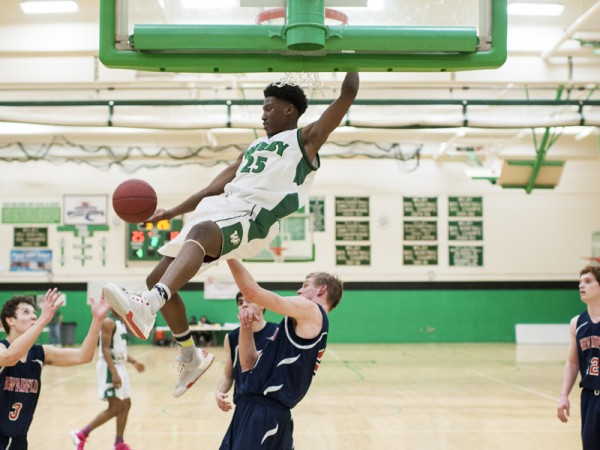 WATERBURY, CT- 7 March 2016-030716EC14- Wilby's Damian Grant just barely misses a dunk against New Fairfield. The Wildcats won Monday night's home game. Erin Covey Republican-American