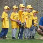 Team Yellow, or Albert Bros. Inc, with coach Dan Cooney, is ready to be introduced at the opening ceremony of Middlebury Baseball on Saturday at Quassy Field.  (Palladino/RA)