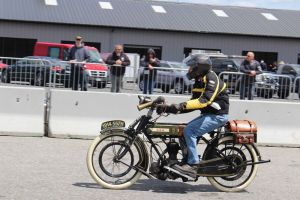 Mark Turkington rides his 1914 BSA 557H. Bud Wilkinson / Republican-American