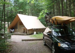 If you donþÄôt have your own tent or don't want to bother with it, donþÄôt worry. More and more campgrounds are offering þÄúcabin tentsþÄù for rent like this þÄúHutopiaþÄù in Saguenay National Park in Quebec. (Tim Jones/EasternSlopes.com photo)