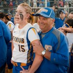 Seymour head coach Ken Pereiras celebrates with pitcher Raeanne Geffert following their 1-0 win over Rocky Hill to capture the Class M state title Friday at DeLuca Field in Stratford.   Jim Shannon Republican-American