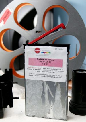 This hard drive is an example of how movies arrive at Holiday Cinemas 14 in Wallingford. The theater no longer uses the large rolls of film they used for years. Steven Valenti / Republican-American