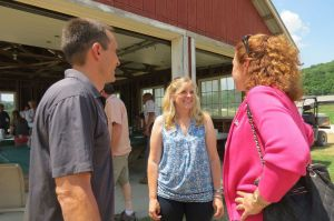 CANAAN,CT - 26_NEW_062516RE01 - James 'Cricket' Jacquier and his wife, Jennifer Jacquier, welcome U.S. Rep. Elizabeth Esty to their East Canaan Laurelbrook Farm Sunday to thank her for pushing legislation important to the dairy farmers' community. Ruth Epstein Republican-American