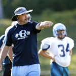 Oxford football head coach Joe Stochmal leads his team in practice drills in Oxford on Wednesday.    Christopher Massa Republican-American