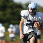 Oxford's Griffin Downs runs through practice drills in Oxford on Wednesday.    Christopher Massa Republican-American