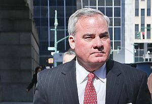 Former Gov. John Rowland leaves federal appeals court in New York. (AP Photo/Bebeto Matthews)+