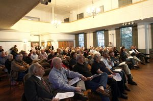 Residents filled the old Town Hall in Woodbury during a town meeting on the proposed budget Monday. Christopher Massa/RA
