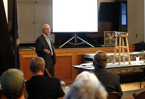Woodbury Board of Finance Chairman Alex DeSorbo addresses an audience at the old Town Hall in Woodbury on Monday. Christopher Massa/RA