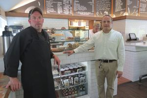 The Mountainside Cafe has reopened on Route 7 in Falls Village after being closed for more than five years. Charles Dietrich, left, the chef, and acting manager Jose Perez are ready to greet customers. Ruth Epstein Republican-American