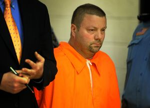 Scott Gellatly stands before the judge during his arraignment in Superior Court in Derby on May 8. Gellatly has been charged with murder, attempted murder and other crimes in the killing of his estranged wife and wounding of her mother during a shooting that sparked a manhunt and lockdowns at area schools and hospitals. AP Photo/The Connecticut Post, Brian A. Pounds