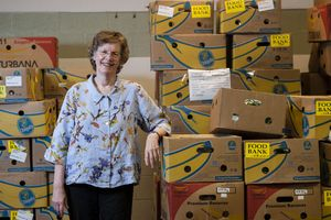 EAST HAVEN, CT-7 July 2014-070714EC02- Nancy Carrington has been running the Connecticut Food Bank for 30 years. She stands at the East Haven facility with food ready to be distributed to the needy. She will retire at the end of the year. Erin Covey Republican-American