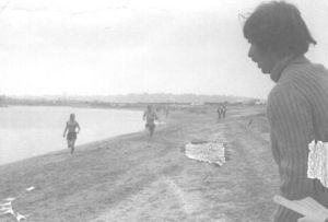 Contributed photo The first modern triathlon was run 40 years ago in San Diego, and the man who invented the sport, Waterbury native Don Shanahan, can be seen in this photo directing runners as they ran along Mission Bay.