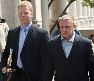 Paul Rogers, on right, makes his way out of New Haven Federal Court in 2012 after pleading not guilty as part of an indictment to funnel illegal campaign donations to a candidate_ Republican-American Archives