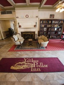 The lobby of The Yankee Pedlar in Torrington was redone years ago, but money ran out before its out-of-code plumbing and outdated rooms could be addressed.   Jim Shannon Republican-American