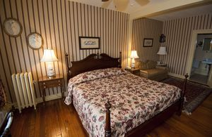 A room inside the Yankee Pedlar in Torrington. Anonymous posters on Trip Advisor have complained about lumpy beds and showers that run hot to cold without warning.  Jim Shannon Republican-American