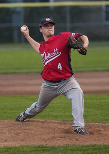 TORRINGTON, CT 082014JS13--Wolcott's Zach Schnal (4) delivers a pitch during game 1 of their Tri-State League finals against Tri-Town Wednesday at Fuessenich Park in Torrington.  Jim Shannon Republican-American