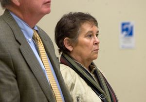 Nancy Boeckel of Southbury appears in court after being charged with 34 counts of animal cruelty in Waterbury Tuesday. The case was continued until November 20th.   Steven Valenti Republican-American