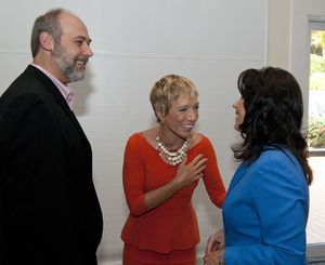 Barbara Corcoran, real estate mogul and private investor on Shark Tank , center, shares a laugh with Joe Bottone, president of Corporate Display Specialties, Inc, left, and Lynn G. Ward, President and Chief Executive Officer of the Waterbury Regional Chamber during the annual Waterbury Regional Chamber's 2014 Business Women's Forum held Friday at the Aqua Turf in Southington. The event also had Amanda Gore, international speaker and CEO of The Joy Project as well as featured workshops.  Jim Shannon Republican-American