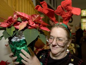 Carolyn Campbell of Colebrook holds up a Poinsettia that was for sale at First Church of Winsted´s 94th annual Christmas Fair in Winsted Saturday. Steven Valenti Republican-American