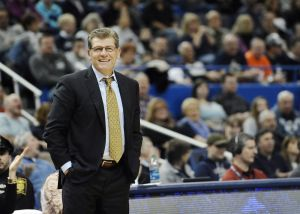 Connecticut Geno Auriemma during the second half of an NCAA college basketball game against SMU, Saturday, Dec. 27, 2014, in Hartford, Conn. (AP Photo/Jessica Hill)