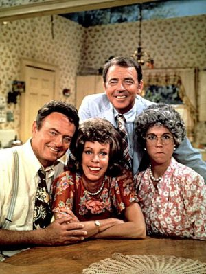 Vicki Lawrence as Mama, right, with Harvey Korman, left, Carol Burnett and Ken Berry.Credit: The Brokaw Co.