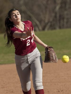 SOUTHBURY, CT-16 April 2015-041615EC01- Action man. Pomperaug's Ashley Antonazzo pitches against New Milford Thursday in Southbury. Erin Covey Republican-American