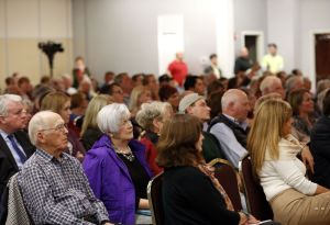 Audience members listen during the Fifth Congressional District debate at the Portuguese Cultural Center in Danbury on Thursday night. Christopher Massa Republican-American