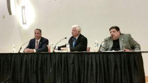 From left, Matthew M. Corey, U.S. Rep. John B. Larson and Michael DeRosa participate in the First Congressional District debate on Wednesday night in Hartford. Kurt Moffett Republican-American