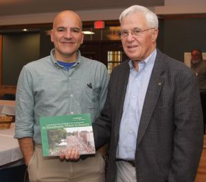 Lou Pellegrino, left, of Litchfield, author of 'In Smallness There Is Beauty,' and Litchfield-Morris Rotary Club member Sky Post during Pellegrino's visit with the club.