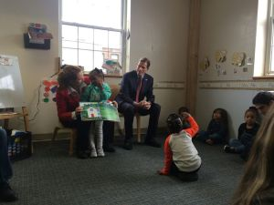 Rep. Elizabeth H. Esty, D-5th District, and Sen. Richard Blumenthal talk to preschool students at the New Britain YWCA about kindness after reading them a story. The Connecticut delegation kicked off a Day of Kindness in recognition of this week's fourth anniversary of the Sandy Hook School shootings. Bruno Matarazzo Jr. Republican-American