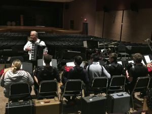 A member of the Connecticut Accordion Association gives a demonstration to students at Wolcott High School. The school is part of the association's pilot program aimed at reintroducing the instrument to young people. Contributed