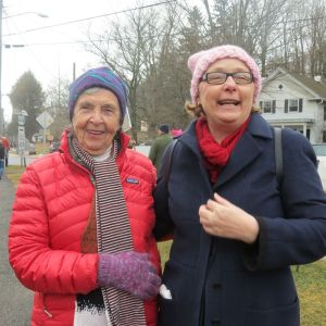 Kitty Benedict, left, and Janet Andre began spreading the word about a women's protest against President Donald Trump to be held on Saturday, but they were surprised when about 500 women and men showed up on the lawn of the White Hart Inn in Salisbury. Ruth Epstein Republican-American