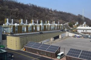 Posco Energy, FuelCell Energy's South Korean partner, dedicated this 20-megawatt Noeul Green Energy Co. fuel cell park in Souel City made of FuelCell Energy fuel cells. Contributed.