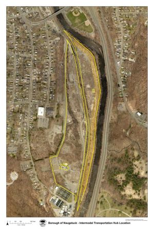 The area outlined in yellow is the 86.5 acre Chemtura property in Naugatuck. The borough is working with state officials and unnamed corporations to build an transportation hub and inland port on the site. Contributed