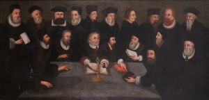 This 17th-century painting, depicting Martin Luther, center, and his associates, had been part of the Yale Divinity School collection for years. Scholars removed the painting last year for restoration. In the process, specialist Kathy Hebb discovered four figures in the foreground, representing satirical images of the Roman Catholic Church, which had been painted more than 100 years after the image was created. The figures include, from left, a cardinal, a (papal) bull, the pope and a monk. It is unclear why the figures were concealed, who painted the image or who bought it. Yale