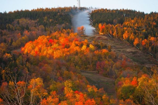 This was how it looked on October 17 at Sunday River in Newry, Maine. The leaves are gone but there will be a lot more snow and the lifts might be turning by the time you read this. (Sunday River photo)