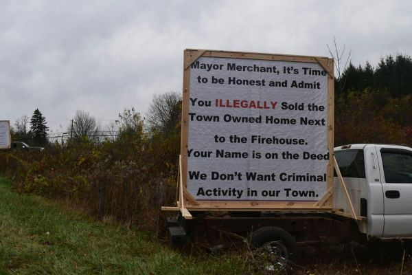 The billboard sign directed at Mayor David V. Merchant that was posted during election day. Jacqueline Stoughton/Republican-American