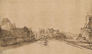 [20]  Rembrandt van Rijn (1606–1669), The Bulwark De Rose and the Windmill De Smeerpot, Amsterdam, ca. 1649-52, pen and brown ink and wash, Thaw Collection, The Morgan Library & Museum, 2006.47. Photography by Steven H. Crossot, 2014.