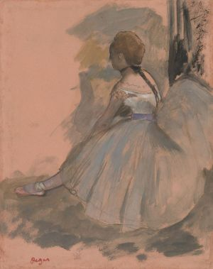 [16]  Hilaire-Germain-Edgar Degas (1834 - 1917), Seated Dancer, 1871-72, oil paint over graphite on pink paper, Thaw Collection, The Morgan Library & Museum, 2017.54. Photography by Steven H. Crossot, 2014.