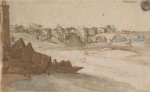 [13]  Jan Bruegel (1568 - 1625), A View of the Tiber in Rome with the Ponte Sisto and Saint Peter's in the Distance, ca. 1594, pen and brown ink and wash and blue watercolor over black chalk, Thaw Collection, The Morgan Library & Museum, 2017.20. Photography by Steven H. Crossot.
