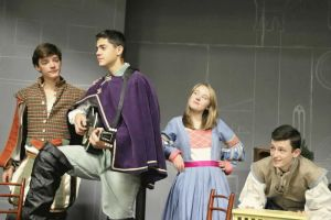 Pictured Above L-R: Chase kids Trey Atkins ('18) as Grumio/Street Musician, Michael Nejaime ('18) as Hortensio/Street Musician, Maggie McGuire ('20) as Cafe Owner/Vincentio, and Caelan Gadwah-Meaden ('18) as Traino during a recent rehearsal for the Highlander Theater Company's upcoming production of 'The Taming of the Shrew' at Chase Collegiate School in Waterbury, presented by special arrangement with Shakesperience Productions, Inc. Contributed