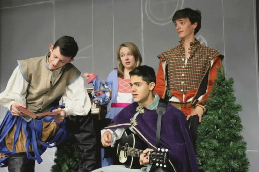 Pictured Above L-R: Chase kids Caelan Gadwah-Meaden ('18) as Traino, Maggie McGuire ('20) as Cafe Owner/Vincentio, Michael Nejaime ('18) as Hortensio/Street Musician, and Trey Atkins ('18) as Grumio/Street Musician during a recent rehearsal for the Highlander Theater Company's upcoming production of 'The Taming of the Shrew,' at Chase Collegiate School in Waterbury, presented by special arrangement with Shakesperience Productions, Inc. Contributed