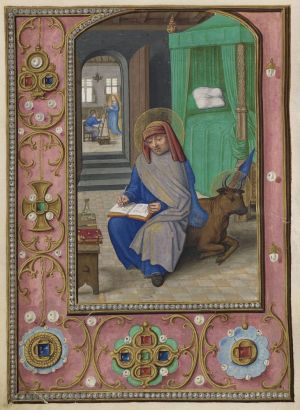 Simon Bening (1483/4–1561), St. Luke Writing his Gospel and Painting the Virgin; borders with pearls, pendants, and brooches. Da Costa Hours, in Latin, Ghent, Belgium, ca. 1515. Manuscript on vellum. Purchased by J. Pierpont Morgan, 1910. The Morgan Library & Museum, MS M. 399, fol. 113v. Image courtesy of Akademische Druck- u. Verlagsanstalt, Graz/Austria.