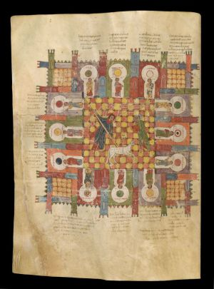 Maius (d. 968), Vision of the Heavenly Jerusalem, Beatus of Liébana, Commentary on the Apocalypse, in Latin; San Salvador de Tábara, Spain, ca. 945. Manuscript on vellum. Purchased by J.P. Morgan, 1919.